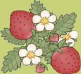 U Pick Strawberries mascot - strawberry and leaves