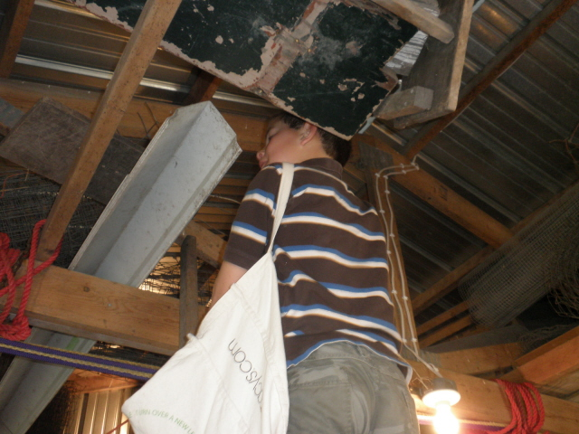 Caleb searching for Easter eggs in the barn.