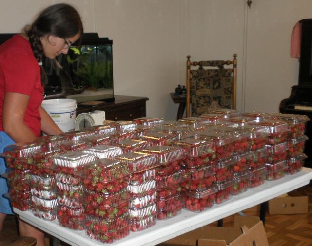 Rachel filling strawberry orders.