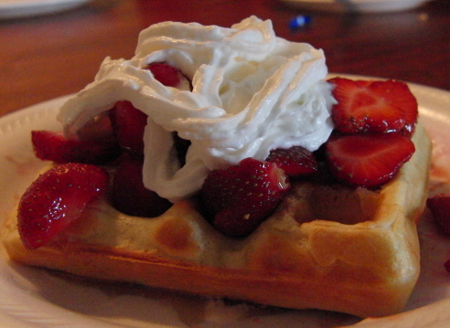 Put your own U Pick strawberries on your own homemade waffles!